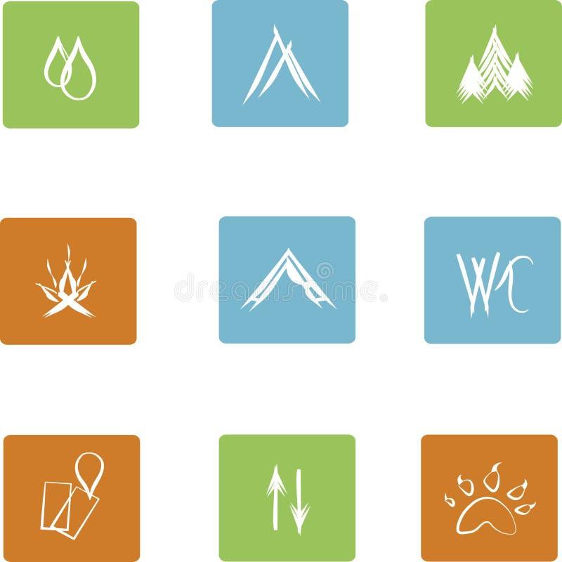 Ícones lisos quadrados para acampar, marcações brancas no fundo azul, verde, alaranjado, desenhado à mão ilustração do vetor