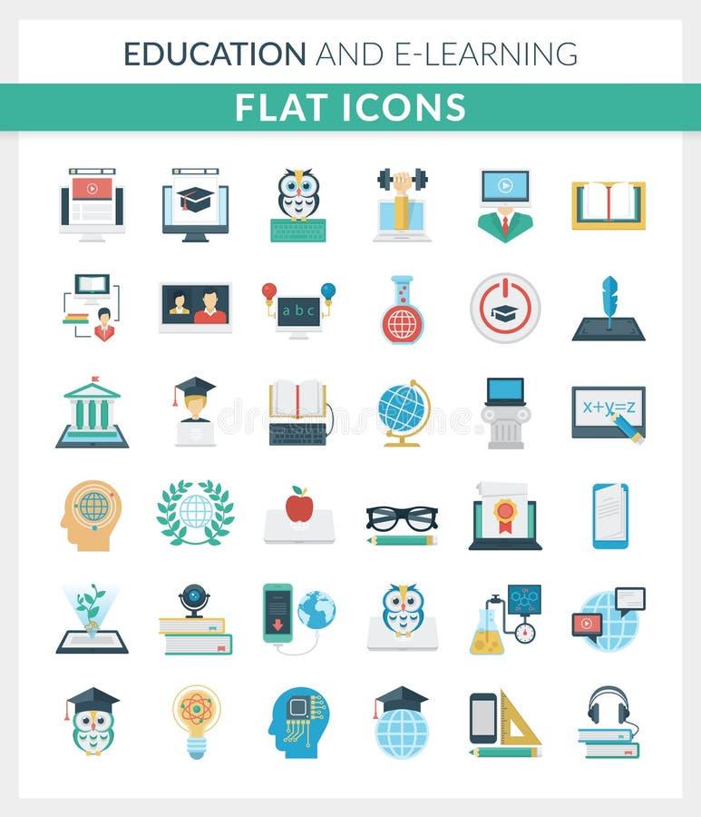 Ícones lisos redondos da educação e do ensino eletrónico fotos de stock
