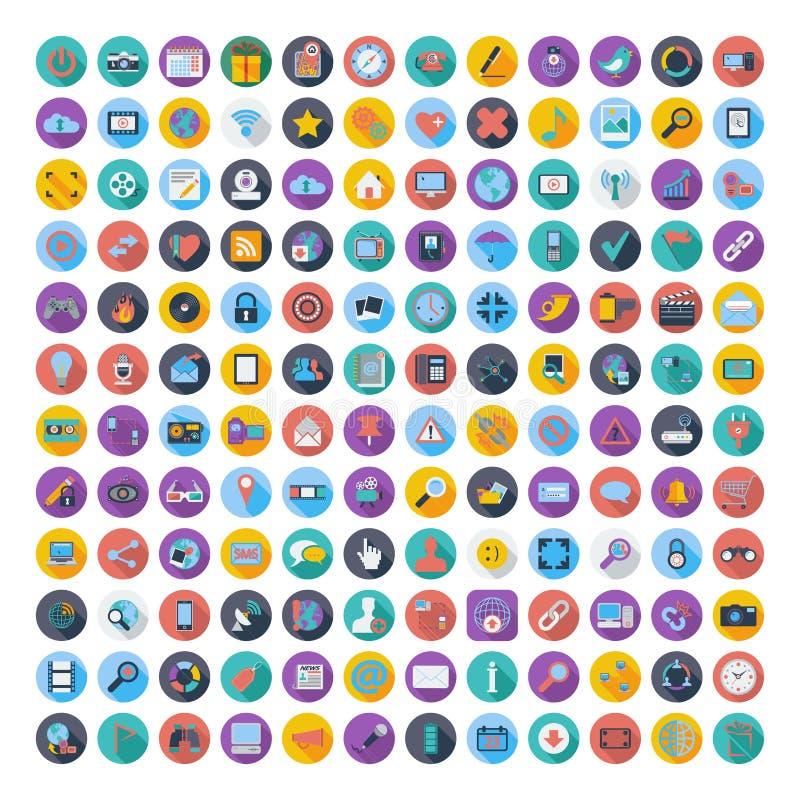 Ícones lisos sociais da cor dos meios e da rede ilustração do vetor