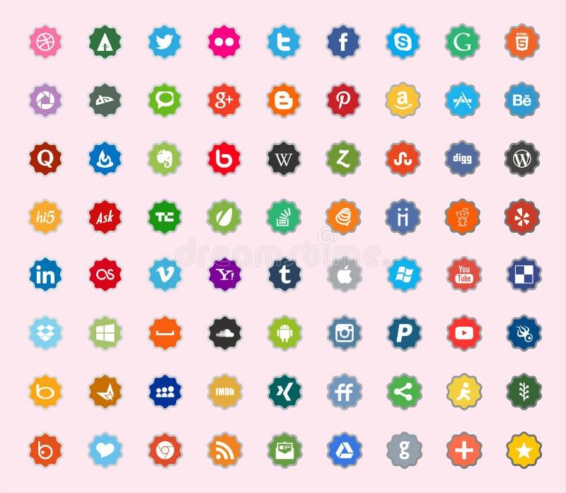 Ícones lisos sociais da cor dos meios e da rede foto de stock
