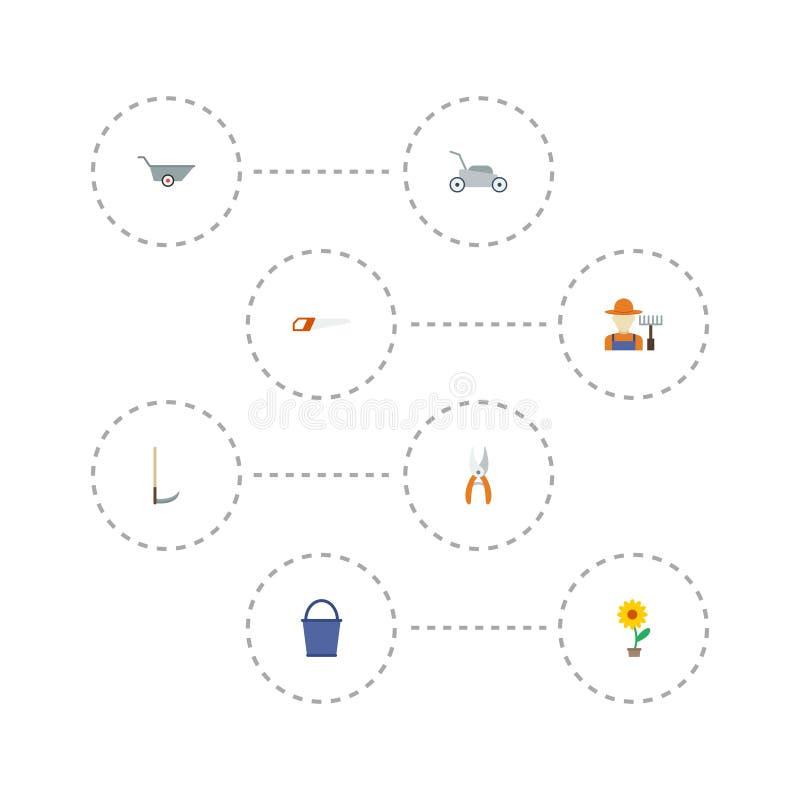 Ícones lisos tesoura de podar manual, cubeta, carrinho de mão e outros elementos do vetor O grupo de símbolos lisos dos ícones da ilustração royalty free