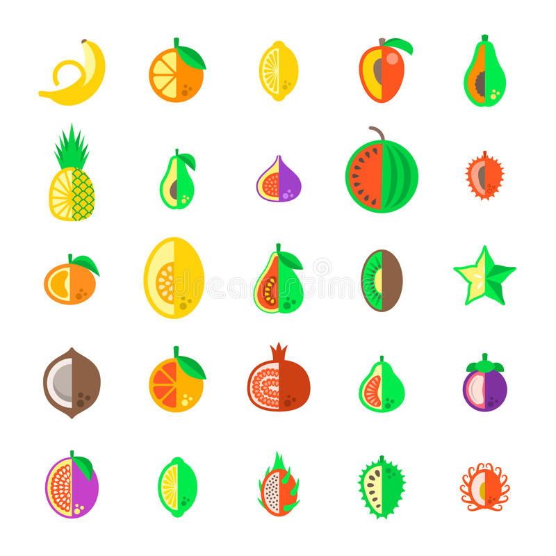 Ícones lisos tropicais exóticos do vetor do estilo dos frutos frescos ajustados ilustração do vetor