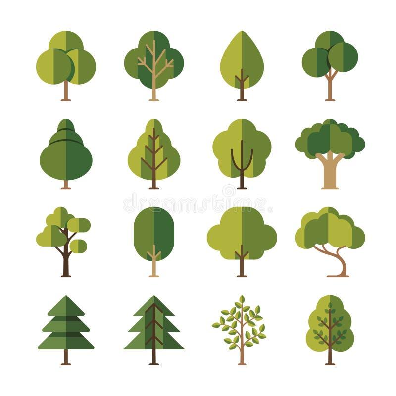 Ícones lisos verdes do vetor da árvore de floresta do verão ilustração royalty free