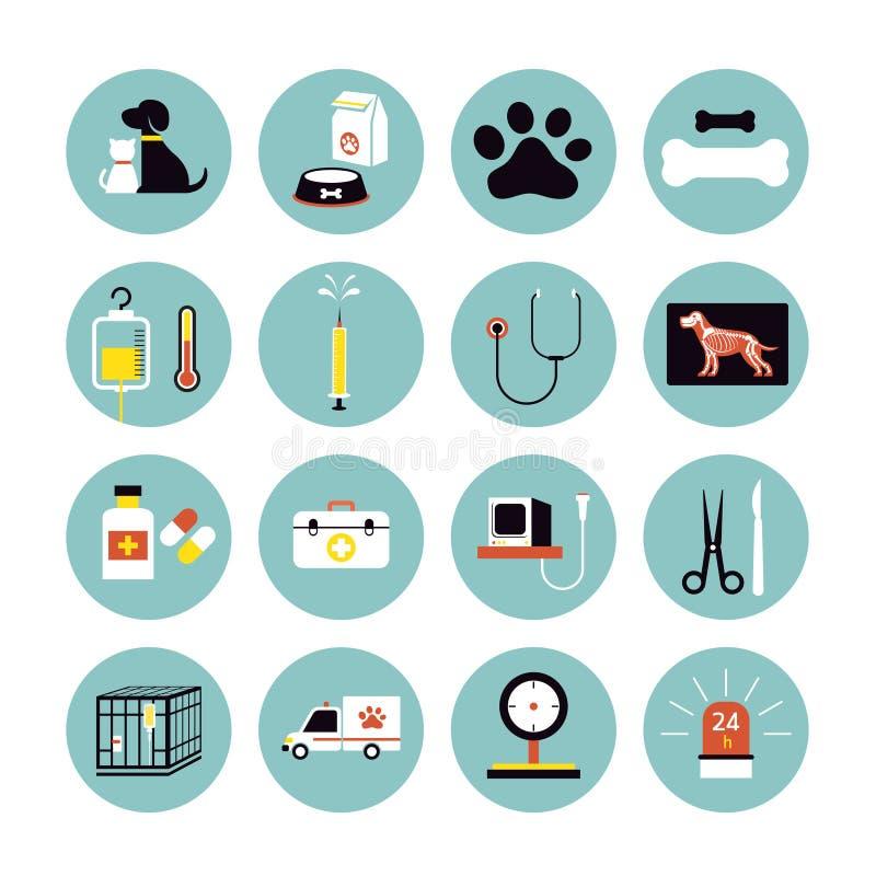 Ícones lisos veterinários ajustados ilustração do vetor