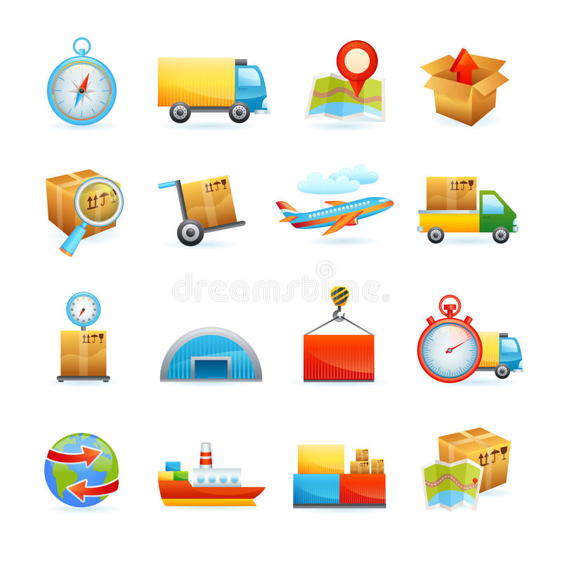 Ícones logísticos ajustados ilustração royalty free