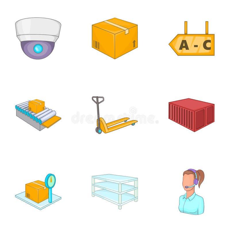 Ícones logísticos ajustados, estilo dos desenhos animados ilustração royalty free