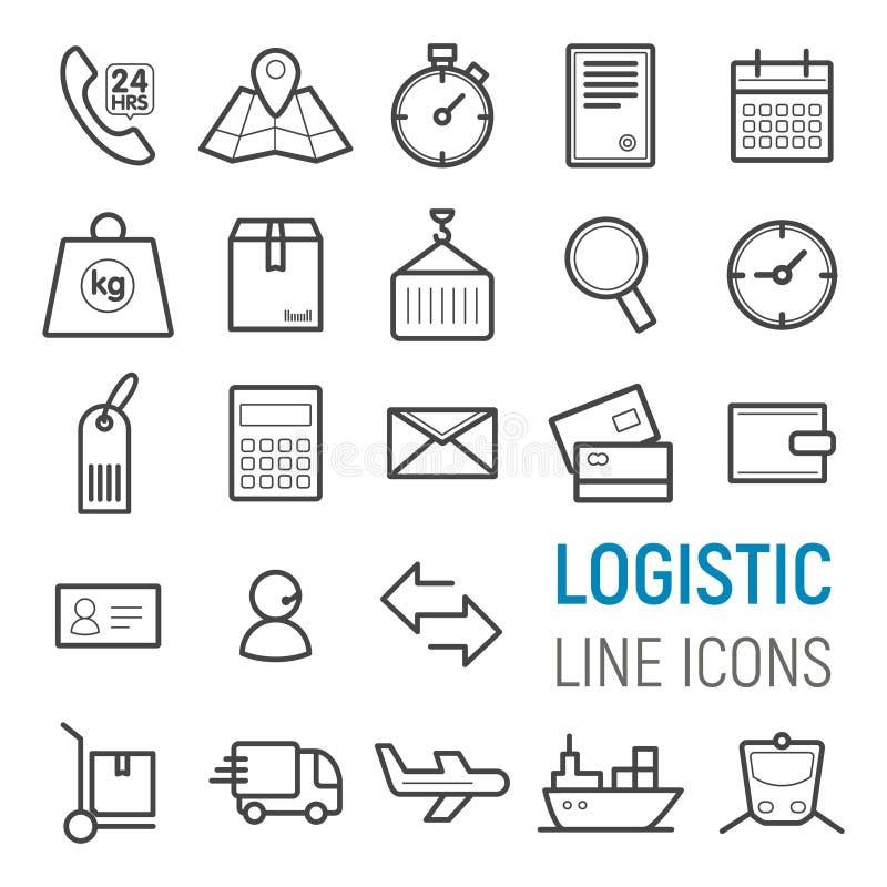 Ícones logísticos ajustados Linha lisa ilustrações do vetor ilustração stock