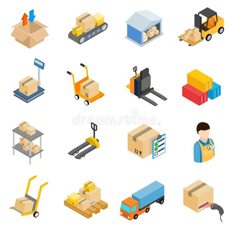 Ícones logísticos do armazenamento do armazém ajustados