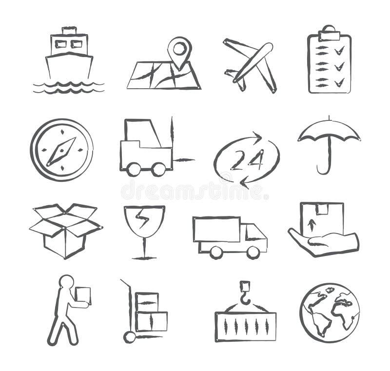 Ícones logísticos e da entrega da garatuja ilustração stock