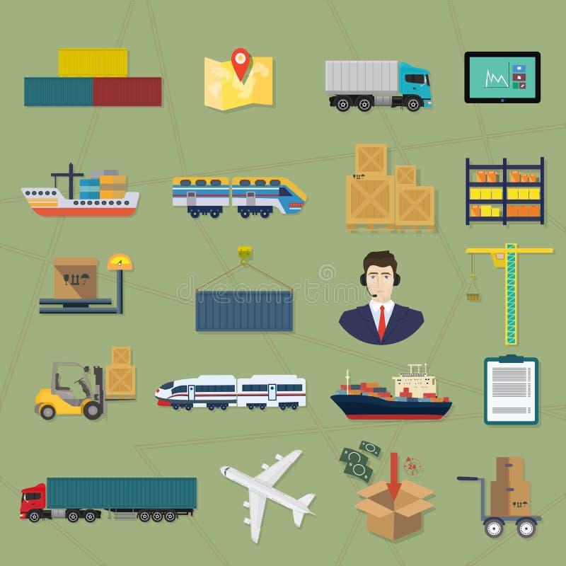 Ícones logísticos Ilustração do serviço do vetor da carga da entrega ilustração do vetor