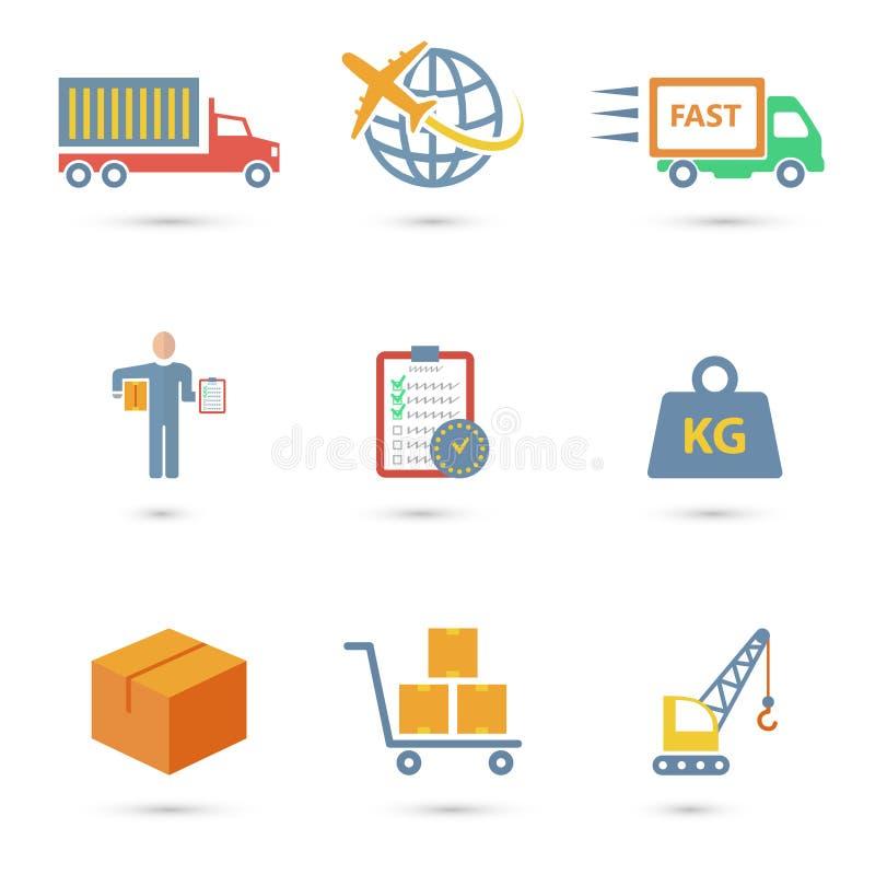 Ícones logísticos lisos ilustração do vetor