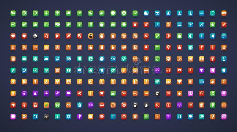 Ícones longos da sombra da aplicação ilustração stock