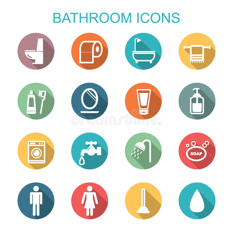 Ícones longos da sombra do banheiro ilustração royalty free