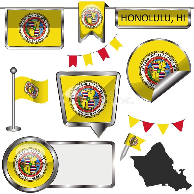 Ícones lustrosos com a bandeira de Honolulu, HI ilustração royalty free