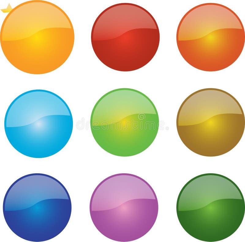 Ícones lustrosos da esfera ilustração stock