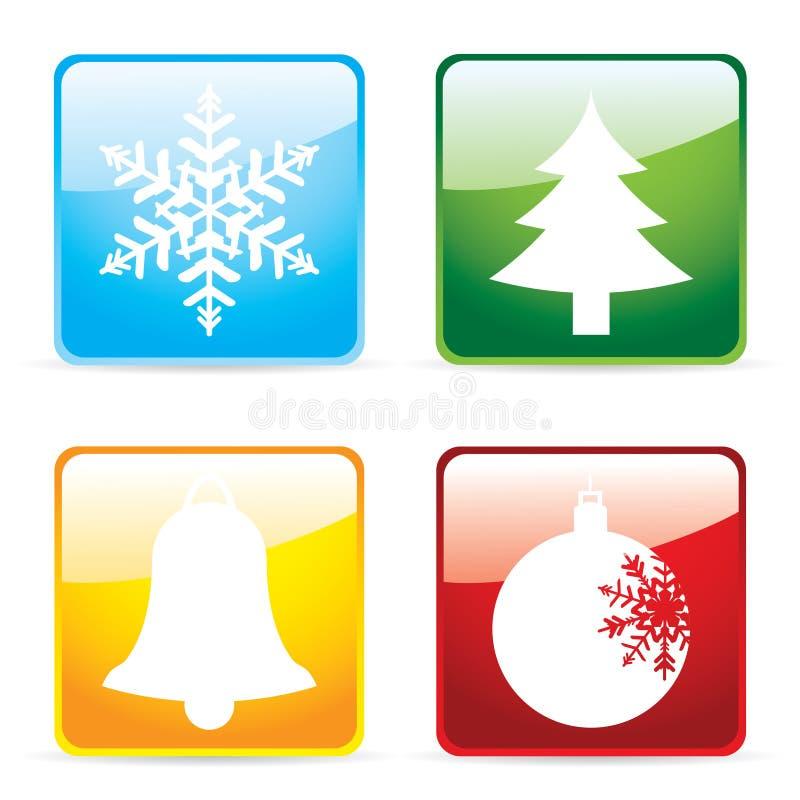 Ícones lustrosos do Natal ilustração stock