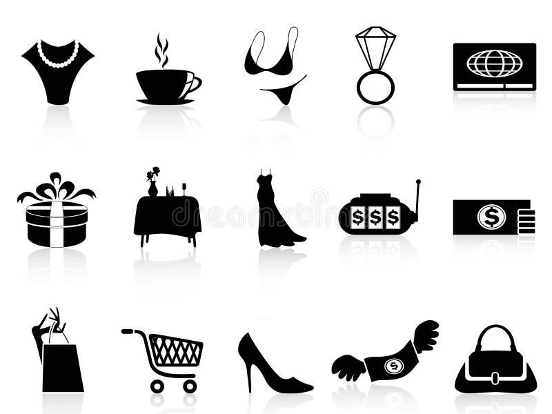 Ícones luxuosos da compra ajustados ilustração do vetor