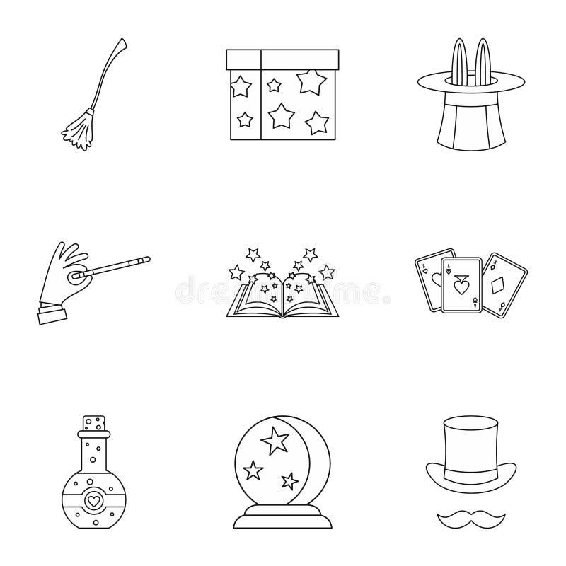 Ícones mágicos ajustados, estilo do esboço ilustração do vetor