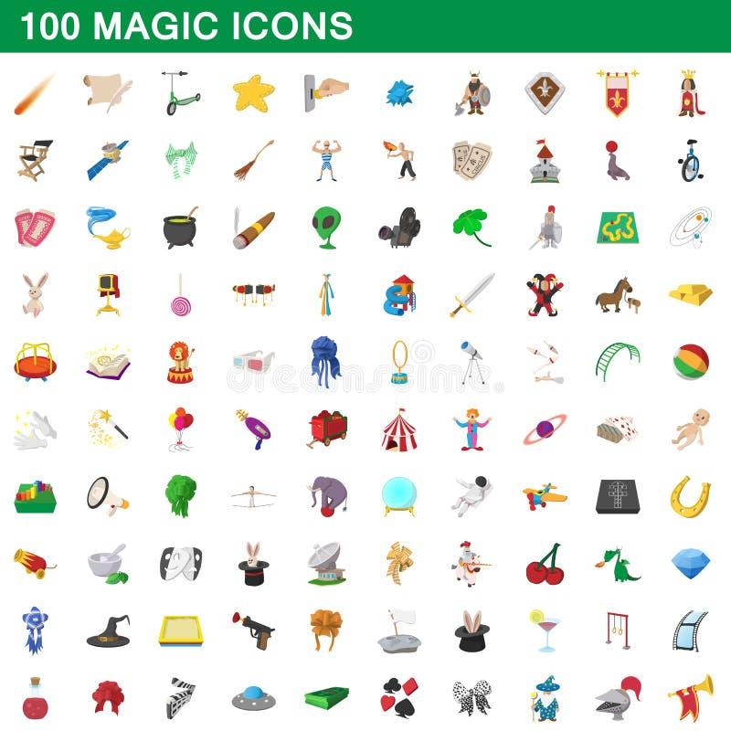 100 ícones mágicos ajustados, estilo dos desenhos animados ilustração royalty free