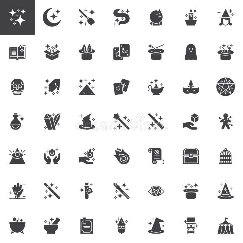Ícones mágicos do vetor dos elementos ajustados ilustração stock