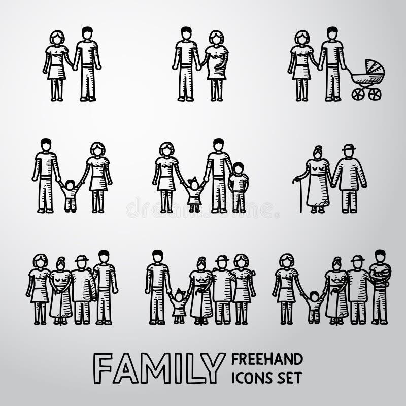 Ícones a mão livre da família Multigenerational ajustados com ilustração stock
