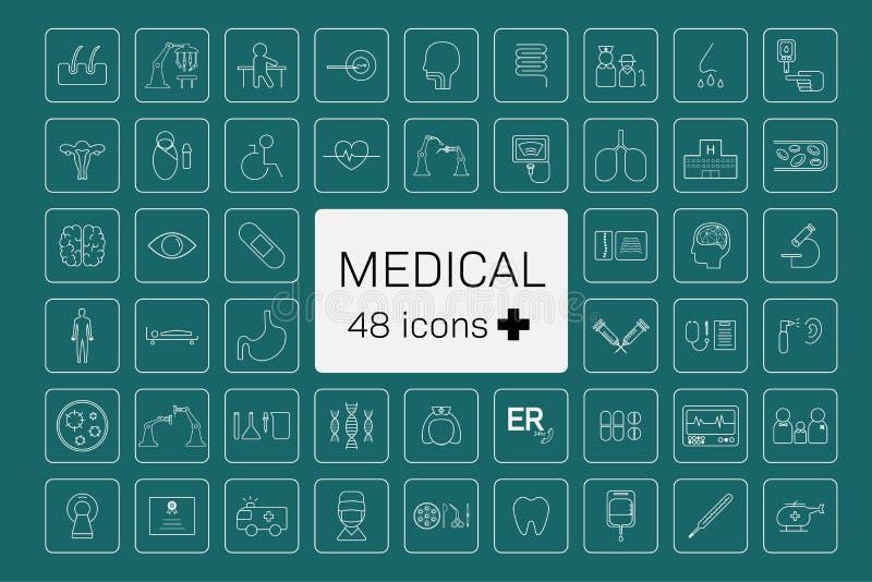 48 ícones médicos ilustração royalty free