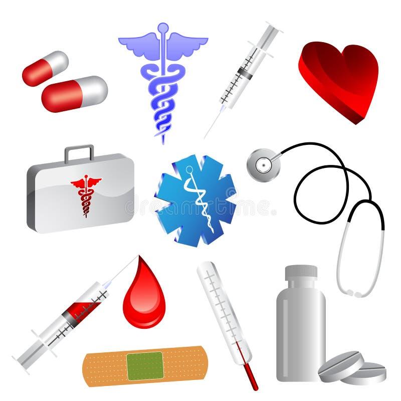 Ícones médicos ilustração do vetor