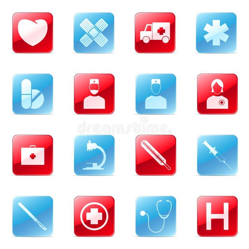 Ícones médicos ajustados ilustração stock