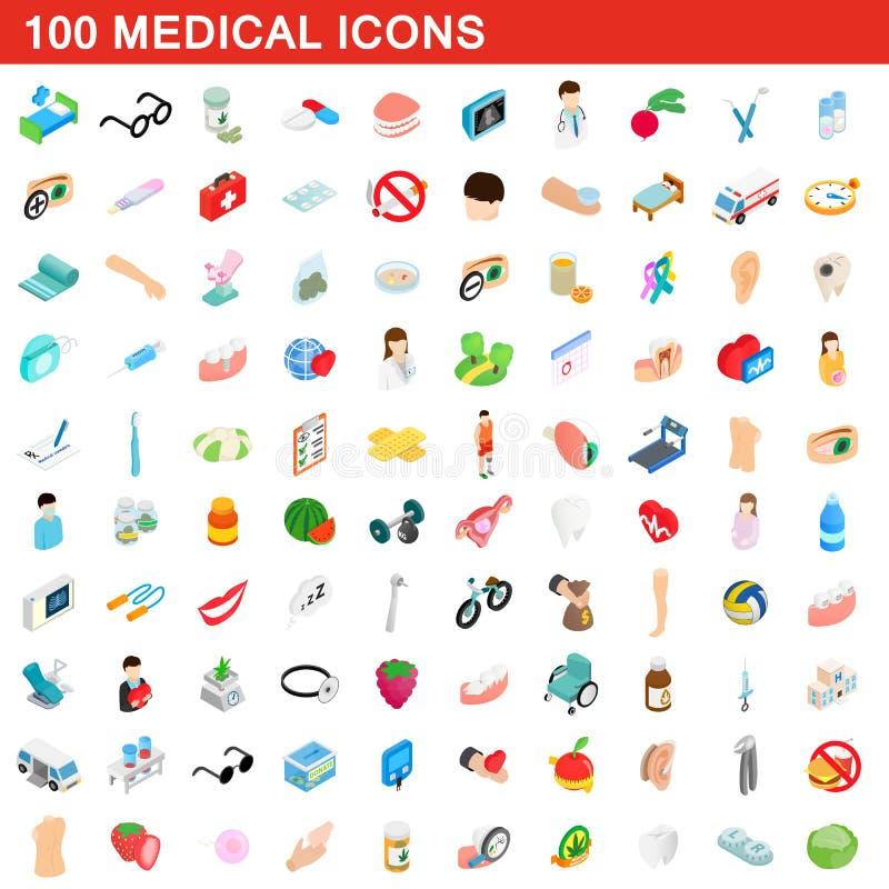 100 ícones médicos ajustados, estilo 3d isométrico ilustração stock