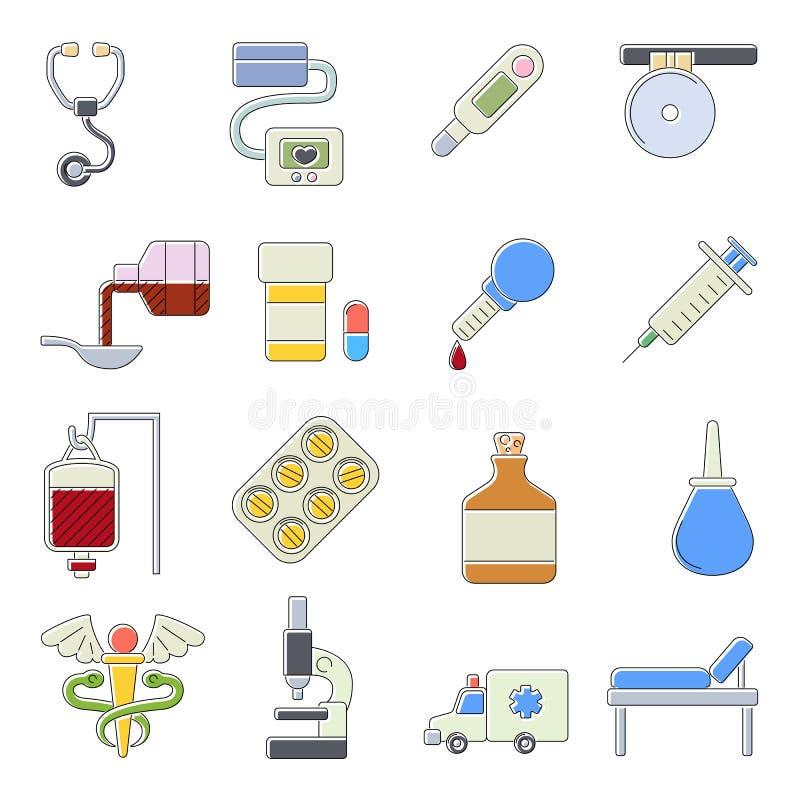 Ícones médicos ajustados, estilo do outine dos desenhos animados ilustração royalty free