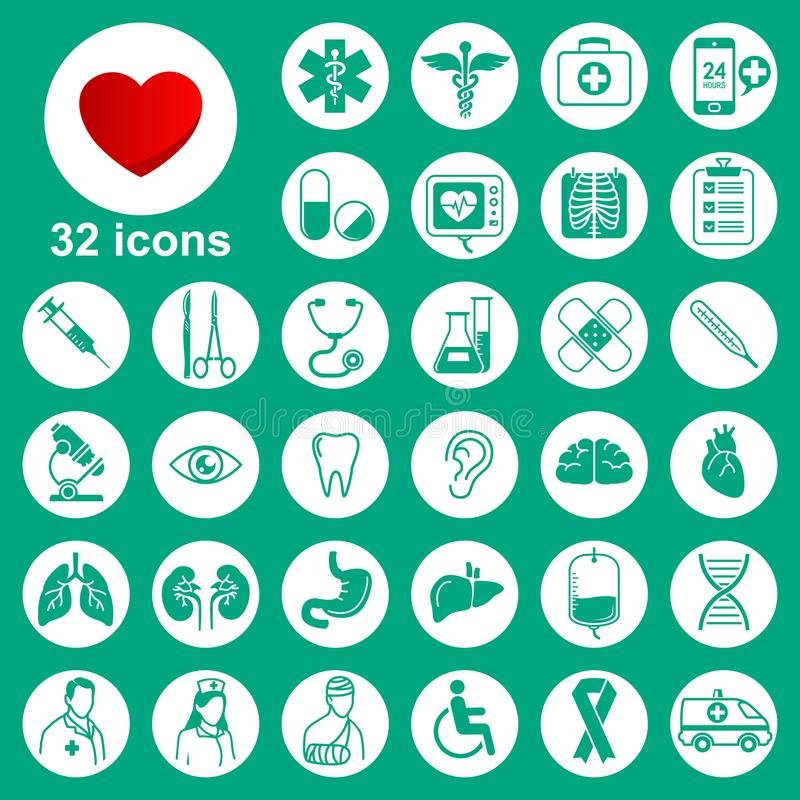 Ícones médicos ajustados: general, ferramentas, órgãos, símbolos ilustração do vetor