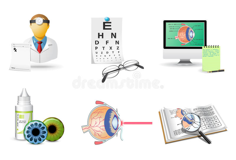 Ícones médicos ajustados | Oftalmologia ilustração royalty free
