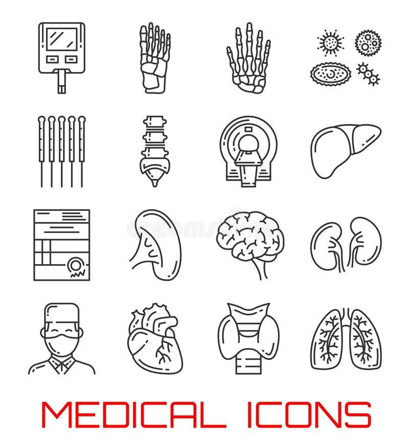 Ícones médicos com órgãos humanos e doutor ilustração do vetor