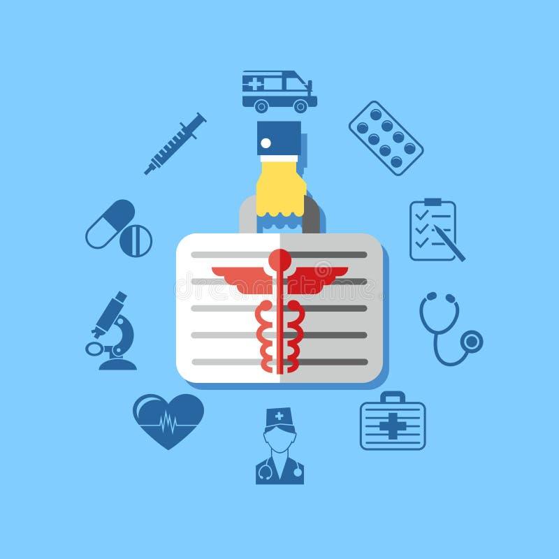 Ícones médicos da farmácia do vermelho azul do vetor de Digitas ilustração stock