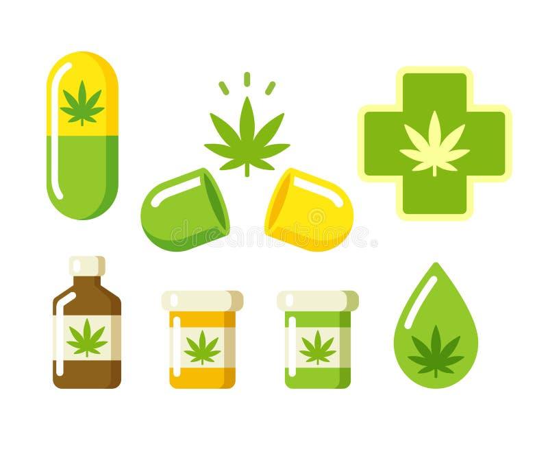 Ícones médicos da marijuana ilustração do vetor