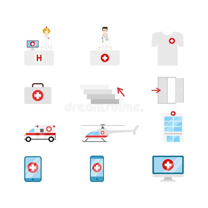 Ícones médicos da Web do vetor: enfermeira do doc do transporte da emergência do hospital ilustração royalty free