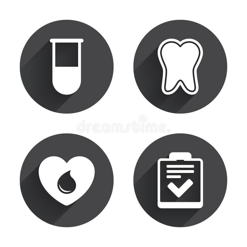 Ícones médicos Dente, tubo de ensaio, doação de sangue ilustração stock