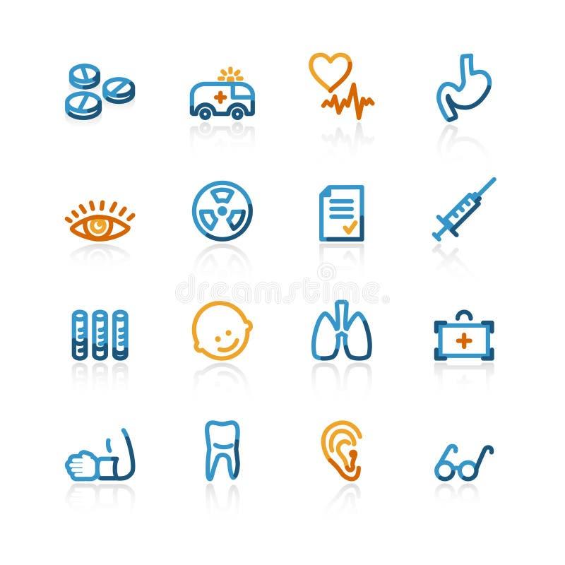 Ícones médicos do contorno imagens de stock royalty free