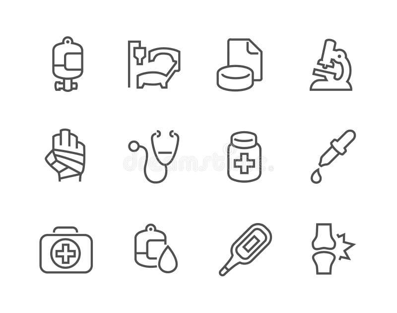 Ícones médicos do esboço ilustração stock