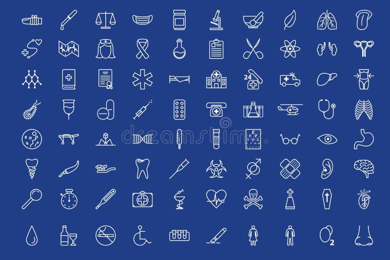80 ícones médicos do esboço ajustados ilustração royalty free