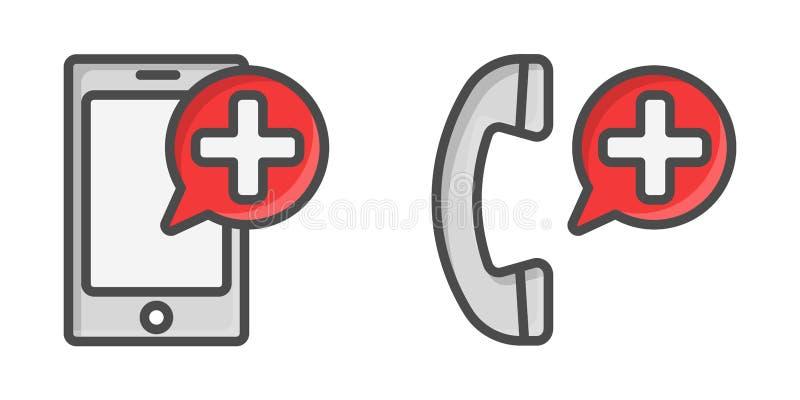 Ícones médicos do telefone celular Botão da chamada para o local da emergência ilustração royalty free