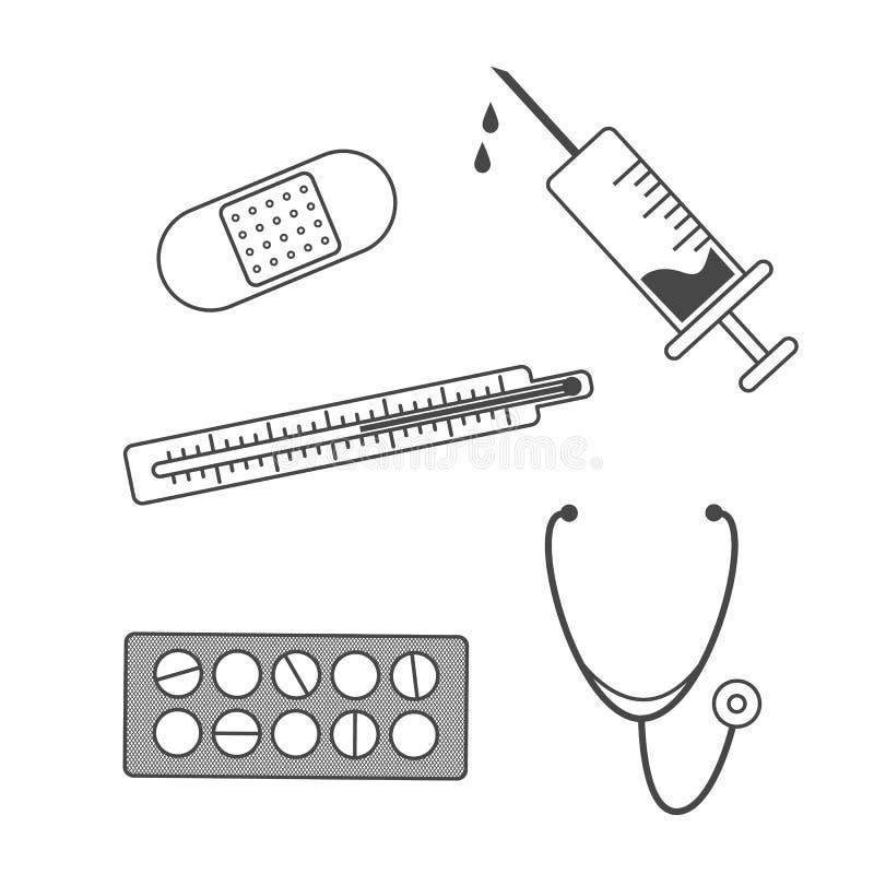 Ícones médicos do vetor ajustados ilustração stock