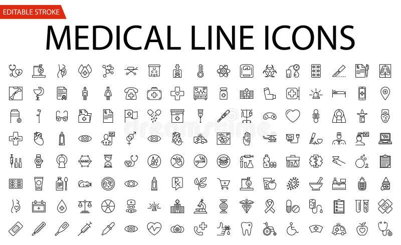 Ícones médicos do vetor ajustados ilustração royalty free