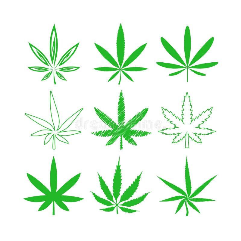 Ícones médicos do vetor da marijuana ou do cannabis ajustados ilustração royalty free