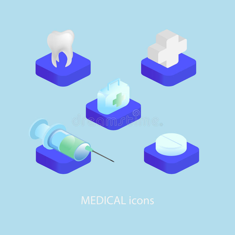 Ícones médicos e dentais ajustados Estilo isométrico ilustração royalty free