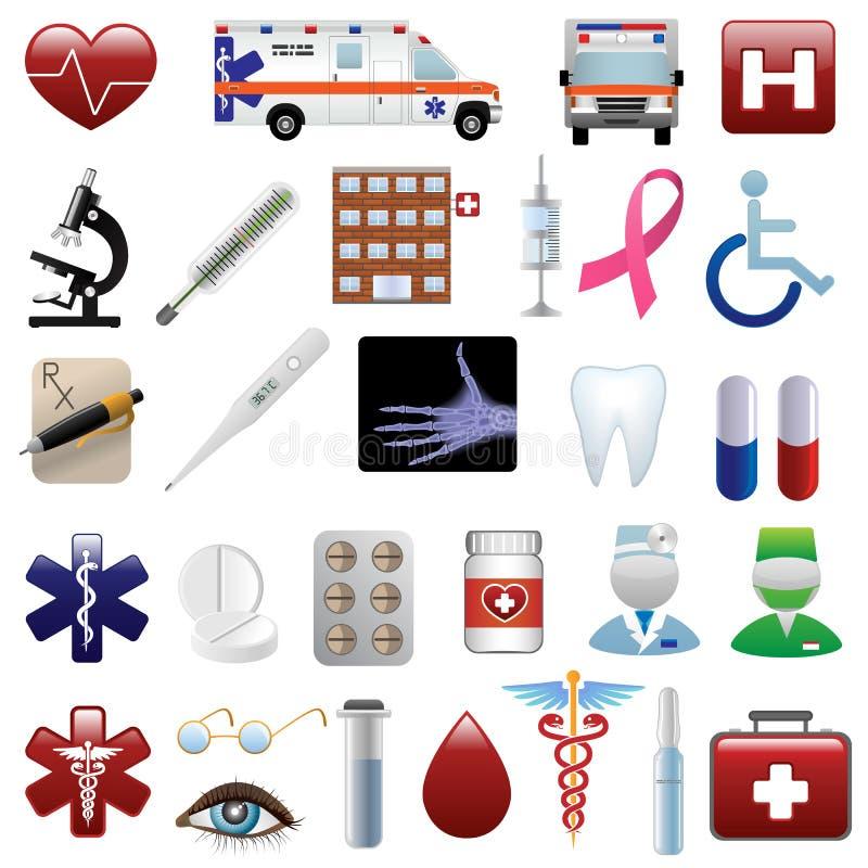 Ícones médicos e do hospital ajustados ilustração do vetor