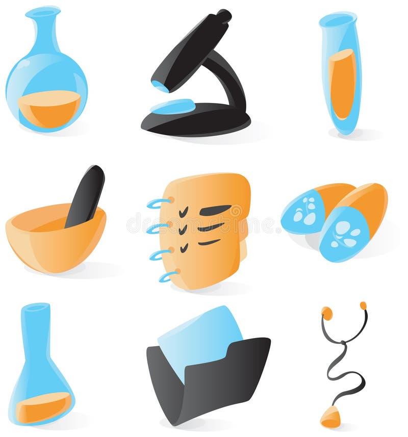 Ícones médicos e químicos lisos ilustração stock