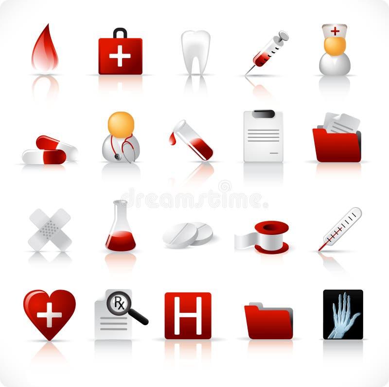 Ícones médicos/jogo 1 ilustração do vetor