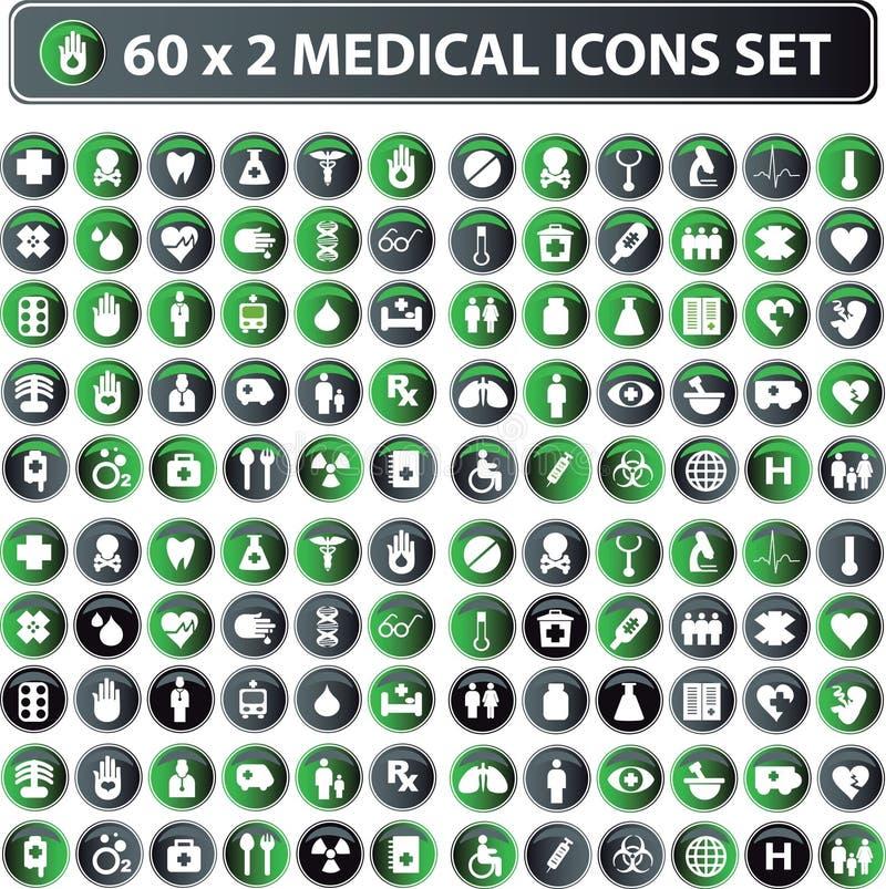 Ícones médicos, jogo do Web da tecla ilustração royalty free