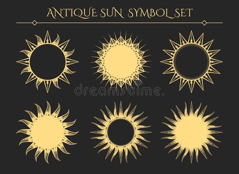 Ícones místicos do starburst do vintage ilustração stock